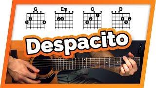 ببطء الغيتار التعليمي (Luis Fonsi مربعة. دادي يانكي & جاستن بيبر) سهلة الحبال الغيتار الدرس