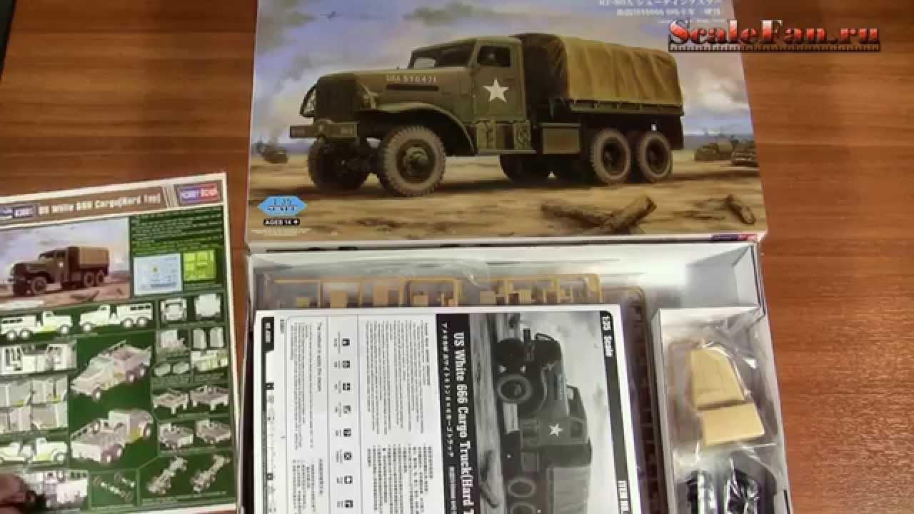 Hobby Boss US White 666 Cargo Truck Hard Top 1/35 - YouTube