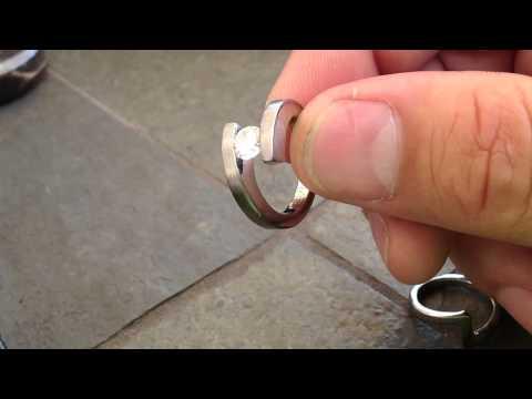 Cobalt Chrome Tension Set Diamond Ring