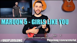 Download Lagu Maroon 5 - Girls like you (ukulele cover with lyrics and chords) (MusicSheet link) Mp3