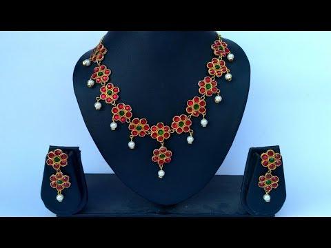 How To Make Designer Paper Necklace- DIY Paper Jewellery Making at Home- Designer Necklace Making