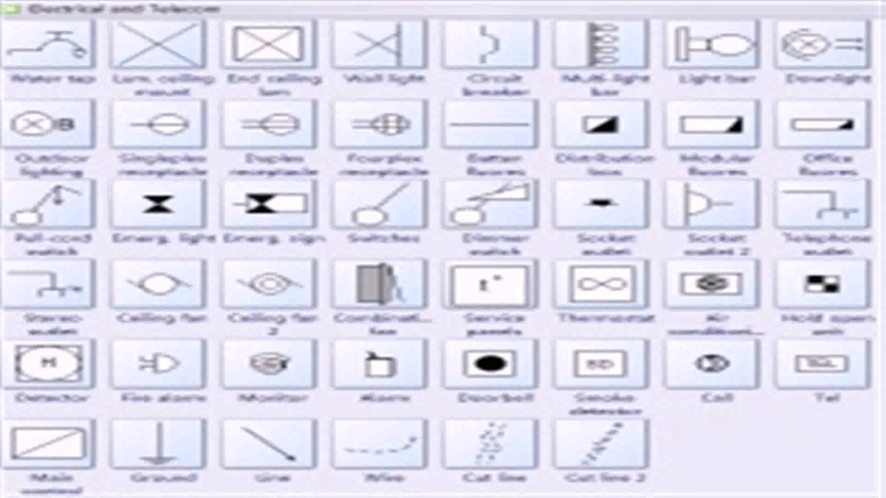 Floor plan symbols electrical youtube for Electrical floor plan symbols