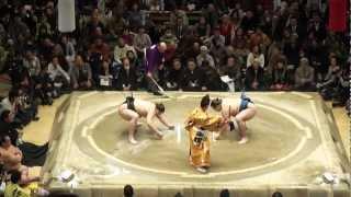 Sumo Grand Championship match at Ryogoku Kokugikan