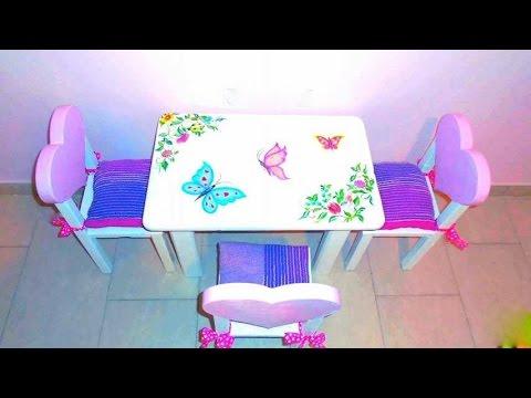 Making heartshaped chairs & handpainted table/Χειροποίητο τραπεζάκι με καρεκλάκια