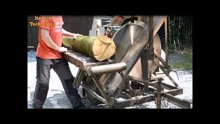 Dangerous Homemade Firewood Machines - Extreme Fastest Processing wood, Chainsaw Cutting Tree