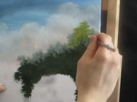 How To Paint Green Trees Using Acrylic In A Landscape Part