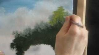 How To Paint Green Trees Using Acrylic  in a Landscape Part 3