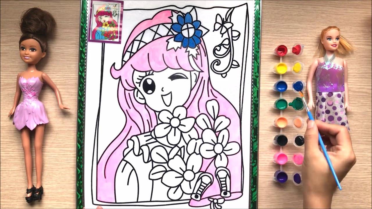 Đồ chơi trẻ em TÔ MÀU VẼ công chúa mùa xuân Learn colors How to painting the princess (Chim Xinh)