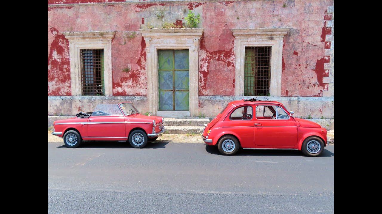 Fiat 500 Giannini i Bianchina Cabrio. Sycylia. Wakacje 2020.
