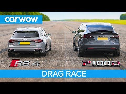 Audi RS4 Vs Tesla Model X P100D - DRAG RACE, ROLLING RACE & BRAKE TEST