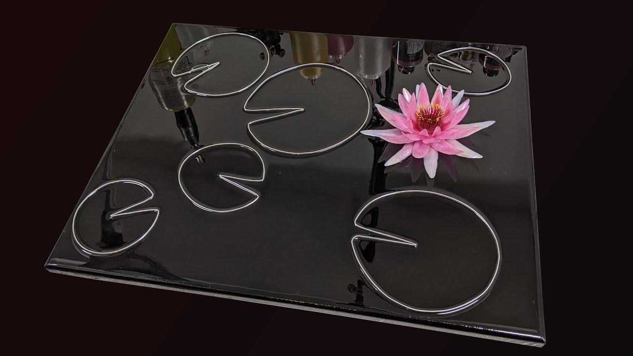 Resin art - Water Lilies - mixed media artwork.