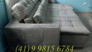 Sofá retrátil com chaise long retrátil e cabeceira reclinável