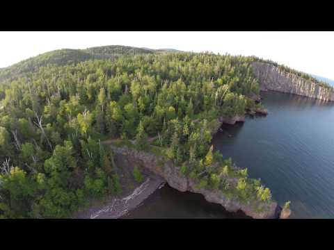 Flying over Lake Superior at Tettegouche State Park in Minnesota