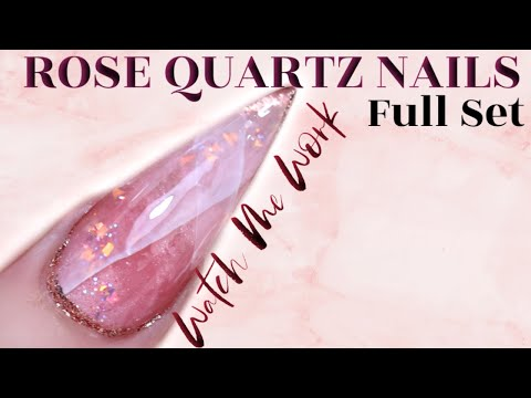 ROSE QUARTZ LAYERED NAIL DESIGN   FULL SET -NAIL TRANSFORMATION thumbnail