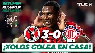 Resumen y Goles | Xolos 3 - 0 Toluca | Copa Mx - Semifinal Ida | TUDN