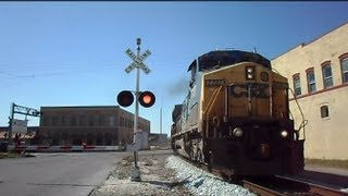 CSX Auto Rack Train Smoking Wheel And Car Goes Around Gates