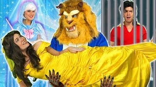 BEAST SAVES BELLE WHEN FAIRY GODMOTHER HELPS. (With Elsa, Belle and Cinderella) Totally TV