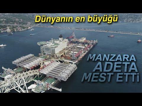 Dünyanın En Büyük İnşaat Gemisinin Boğaz'dan Geçişi Havadan Görüntülendi