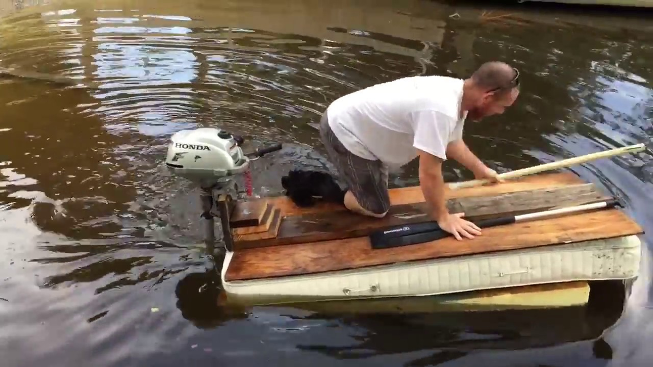 Making A Homemade Mattress Raft With A Boat Motor Youtube