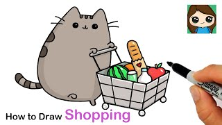 How to Draw Pusheen  Shopping Cart
