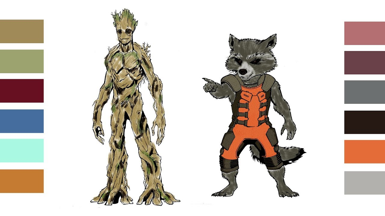Coloring Pages Groot & Rocket Raccoon in Guardians of the Galaxy and ...