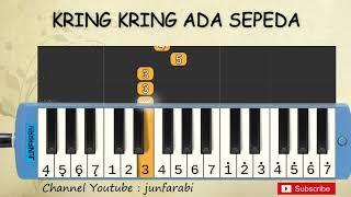 not pianika kring kring ada sepeda - tutorial belajar pianika lagu anak - not angka ada speda