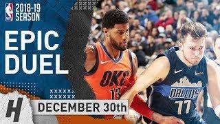 Luka Doncic vs Paul George EPIC DUEL Highlights Thunder vs Mavericks 2018.12.30 - 36 Pts for PG!