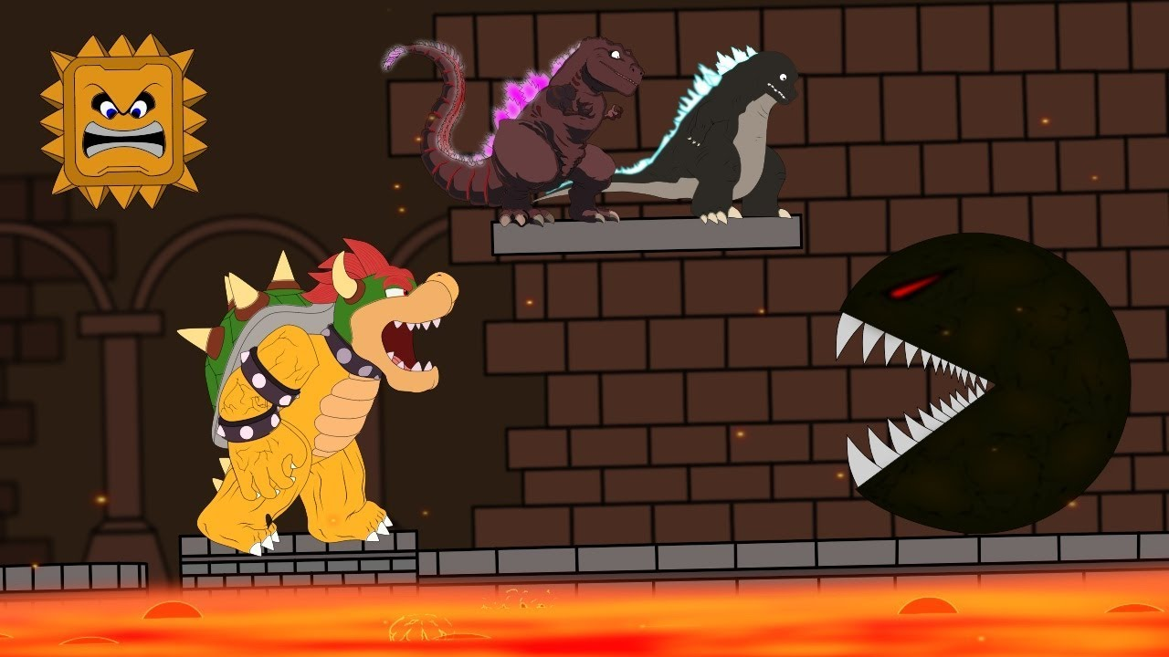 Godzilla Vs Shin Godzilla Pac Man Attack Mario Bowser Funny Godzilla Mario Movie Cartoon