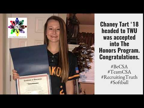 Chaney Tart '18 headed to TWU was accepted into The Honors Program. Congratulations.