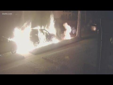 Man firing flare gun at petrol-soaked SUVs caught on doorbell cam