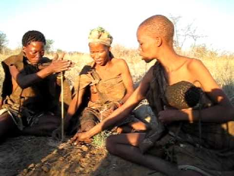 San Women Making Fire - Ghanzi, Botswana