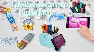 DIYs Incríveis USANDO PAPELÃO| Porta Celular, Estojo e Porta Canetas | Viviane Magalhães