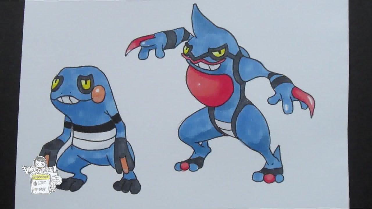drawing pokemon no 453 croagunk no 454 toxicroak youtube