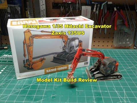 Hasegawa 1/35 Hitachi Excavator Zaxis 135US Model Kit Review Build 66001