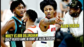 Mikey Williams vs Rob Dillingham! CRAZY HEATED Game In Front Allen iverson! They Chanted OVERRATED!?