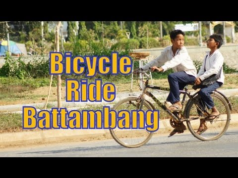 Bicycle Ride touring around Battambang, Cambodia (Wat Sangker, Railway Station, Governor's Office)