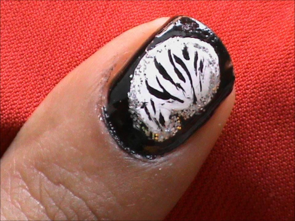 Zebra : Fancy Nail Art Designs *short Nails* - YouTube
