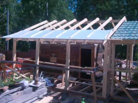 Баня с зоной барбекю под одной крышей