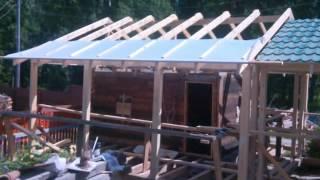 видео Баня с беседкой под одной крышей