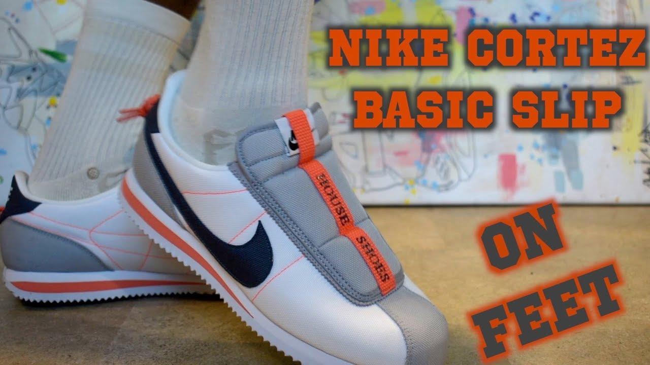 online retailer 4da91 51237 Nike Cortez Basic Slip Kendrick Lamar White ON FEET