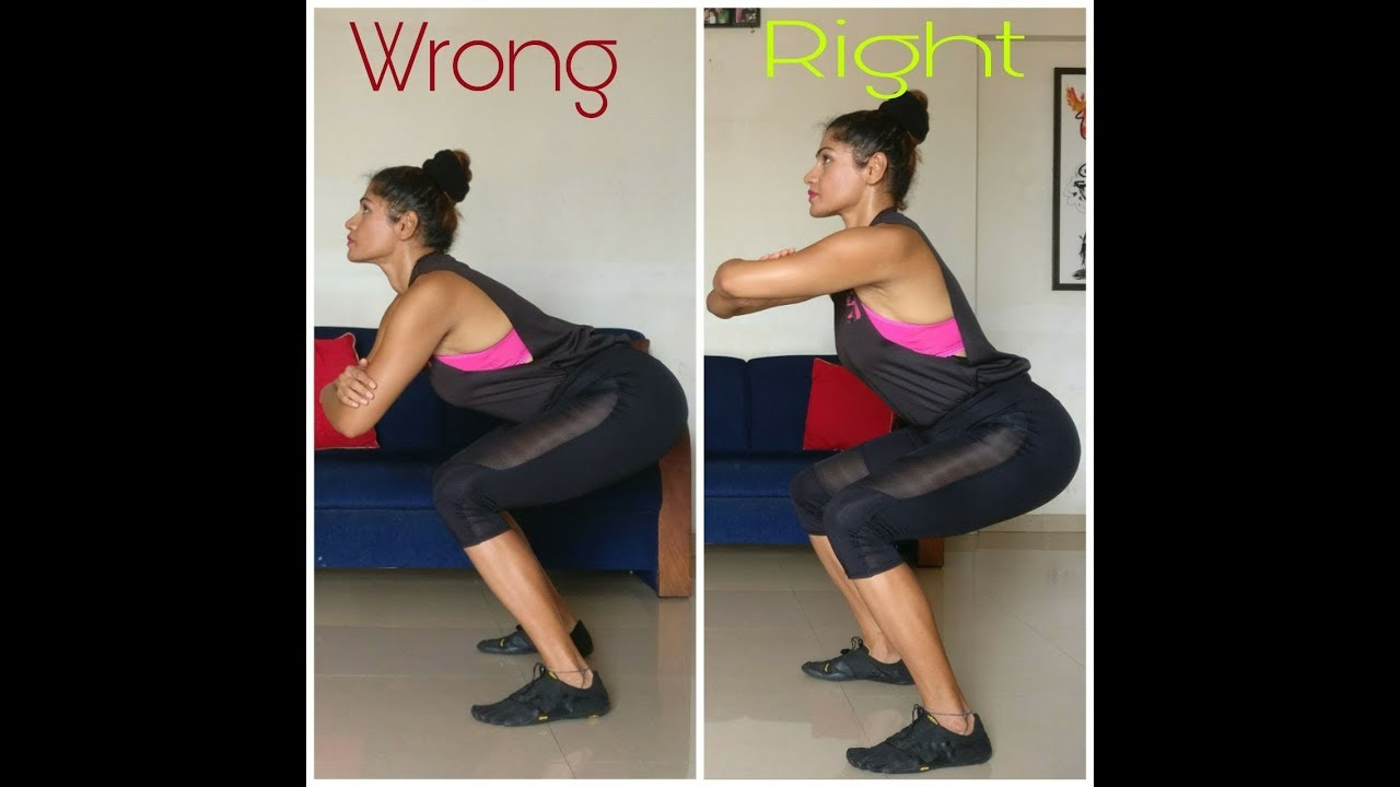 Image result for incorrect vs correct way of squatting