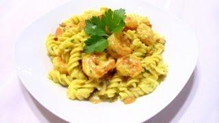 Shrimp And Mushroom Fusilli With Saffron Cream Sauce