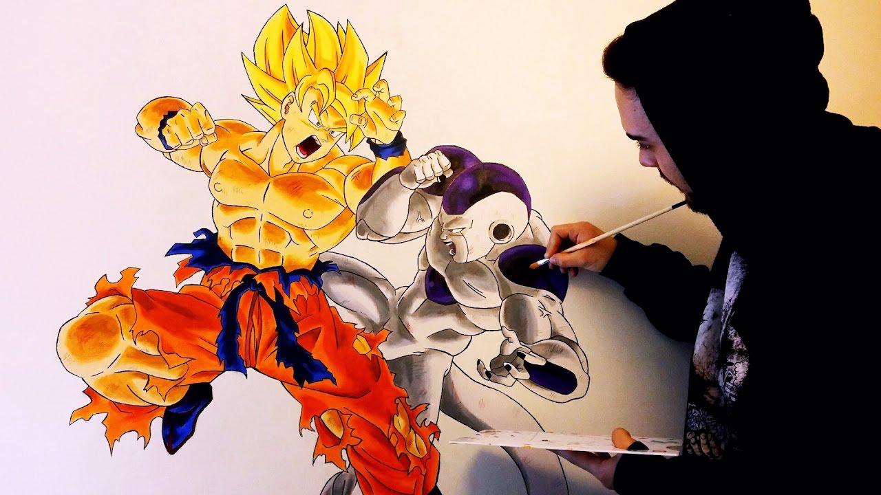 DIBUJANDO A LO GRANDE  Mural Goku VS Freezer  35 Horas trabajo
