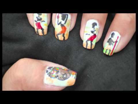My Second Entry to 69Joretta\'s African Nail Art Contest - YouTube