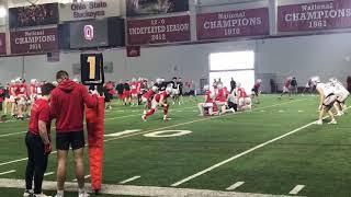 Ohio State Football Quarterbacks In Red Zone Passing Drill