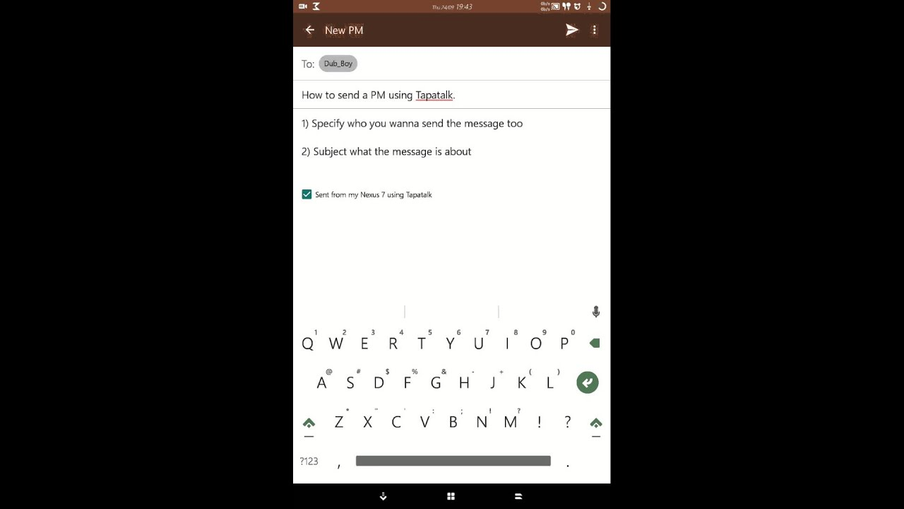 Sending a PM using Tapatalk