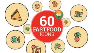 Fastfood Animation Flat Food Meal Icons and Elements - After Effects Template