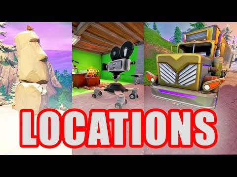 Search Between A Basement Film Camera A Snowy Stone Head & A Flashy Gold Big Rig - Fortnite