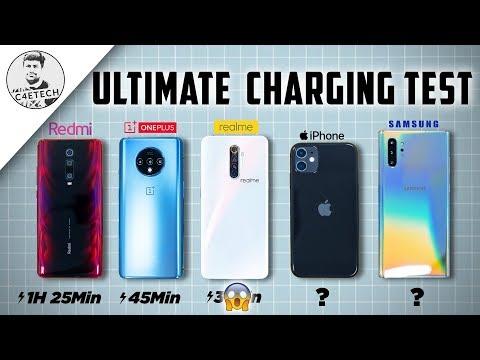 Realme X2 Pro Vs Redmi K20 Pro Vs OnePlus 7T Vs Note 10+ Vs IPhone 11 - Ultimate Charging Speedtest!