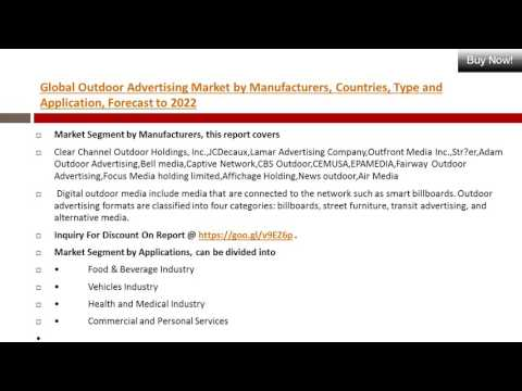 Outdoor Advertising Market 2017 Share & Latest Manufacturer and Sales Demand Overview 2022
